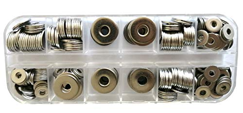 Persberg 300pcs Back_up Rivets Washers Assortment kit, Multiple Stainless Steel Sizes Washers for using by Rivets 1/8