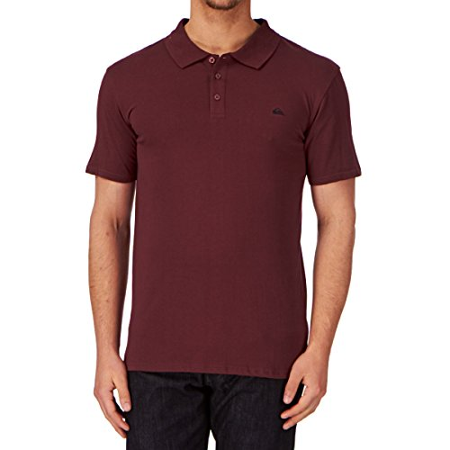 Quiksilver Stokes - Polo - Uni - Manches courtes - Homme - Rouge (Cabernet) - Large (Taille fabricant: L)