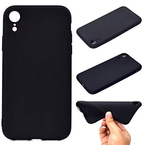 LeviDo Coque Compatible pour iphone XR Étui Silicone Souple Bumper Antichoc TPU Gel Ultra Fine Mince Caoutchouc Bonbons Couleurs Design Etui Cover, Noir