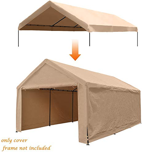 Abba Patio Replacement SideWall Cover for 12 x 20 ft Carport Shelter Garage SideWall Tarp with Rings (Frame & Top Cover Not Included), for 8 Legs Carport, Beige