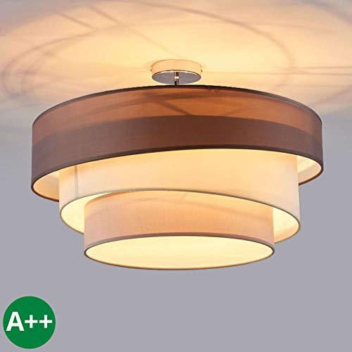 Lindby Deckenlampe 'Melia' dimmbar (Modern) in Braun aus Textil u.a. für Wohnzimmer & Esszimmer (3 flammig, E27, A++) - Deckenleuchte, Lampe, Wohnzimmerlampe