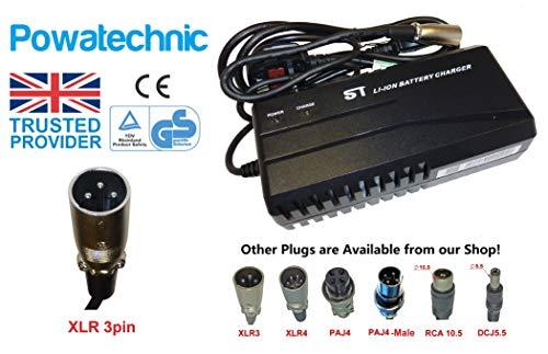 Powatechnic Cargador de batería de Litio Inteligente, 48V - 54.6V 2.5A, para Bicicletas eléctricas, Scooters, sillas de Ruedas y más! (XLR 3 Pin)