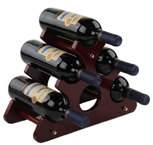 Cherish - Botellero de Madera para Botellas de Vino, Estante de Almacenamiento para Botellas de Vino, 6 o 3 Botellas