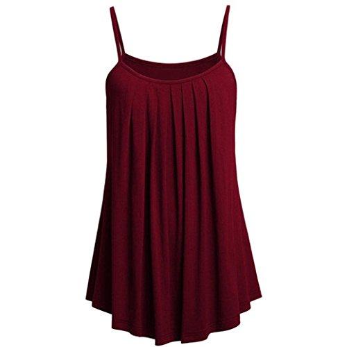 OVERDOSE Sommer Einfarbig Frauen Bluse Shirt Camis Pullis Oberteile Lose Leibchen Damen Einfarbig Chiffon Tank Tops Plus Größe S-6XL(B,M)