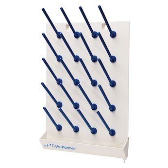 Cole-Parmer PP Wall Mount Drying Rack with Pegs, 20 Place