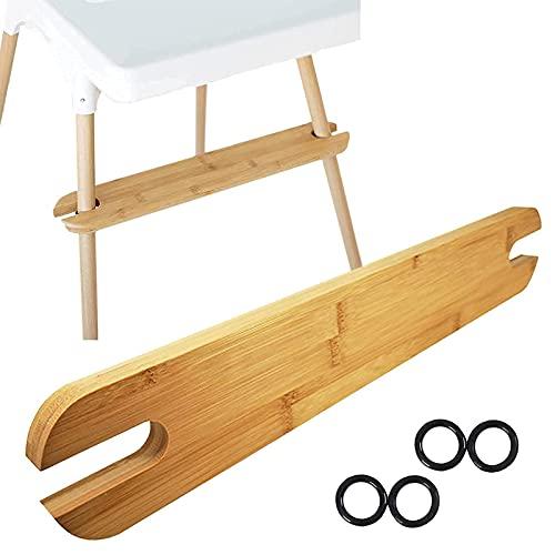 Qingday Baby Holz Hochstuhl Fußstütze, Ergonomisches Design Natürlicher Bambus rutschfeste Verstellbare Fußstütze Kompatibel mit IKEA Antilop Hochstuhl