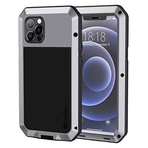 Lanhiem für iPhone 12 Hülle, iPhone 12 Pro Hülle, 360 Grad Outdoor Schutzhülle Stoßfest Metall Ganzkörper Panzerhülle Staubdicht Heavy Duty Case mit Eingebautem Displayschutz, Silber
