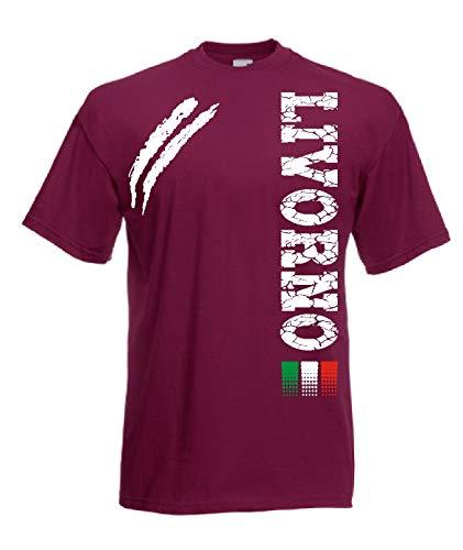 Generico t-Shirt Livorno Tifosi Ultras Calcio Sport dalla S alla 3XL e Taglie per Bambini(XXL, Amaranto)
