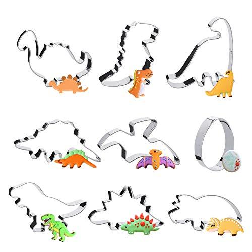 Pukitt Moldes de Galletas Dinosaurios, 9 Piezas DIY Acero Inoxidable Moldes para Fondant, Moldes para Pan, Moldes Galletas Infantiles