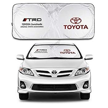 for Toyota Sunshade TRD Windshield Visor Cover Car Window Sun Shade UV Protect Car Window Film for Most Toyota Yaris 4Runner Levin VIOS EX IZOA RAV4 Avalon REIZ C-HR