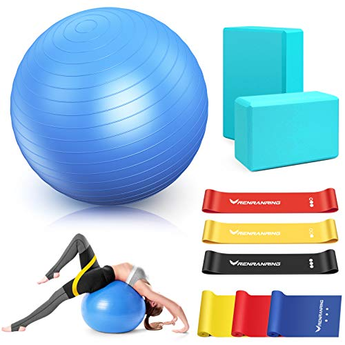 RENRANRING Exercise Ball for Yoga - 11-in-1 Yoga Ball Set with Resistance Bands, Yoga Block, Pump, Workout Balls for Exercise, Stability, Office Ball...