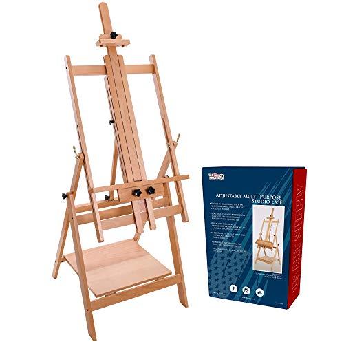 "U.S. Art Supply Large Adjustable H-Frame Multi-Purpose Studio Artist Wooden Floor Easel - Tilts Flat, Mast Adjusts to 88"" High, Holds 59"" Canvas - Sturdy Beechwood Painting Holder Display Stand, Shelf"