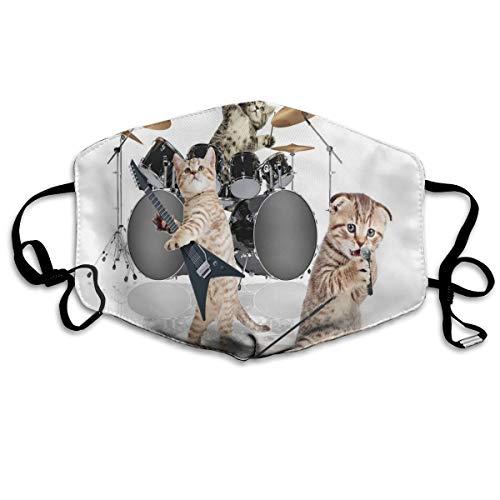 Cool Fancy Hard schattige rocker band van Kittens met Singer Gitarist Cats Printing Safety Mouth Cover voor volwassenen