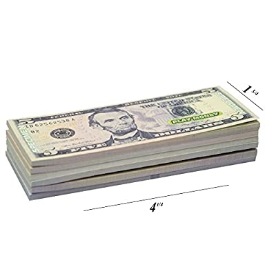 KIDSTHRILL US Play Money One-Sided 20 Bills of $1, $5, $10, $20, $50, & $100 for Monopoly and Educational Use for Children in All Ages - Miniature Money 4 ¼ Long, 1 ¾ Wide by Kidsthrill