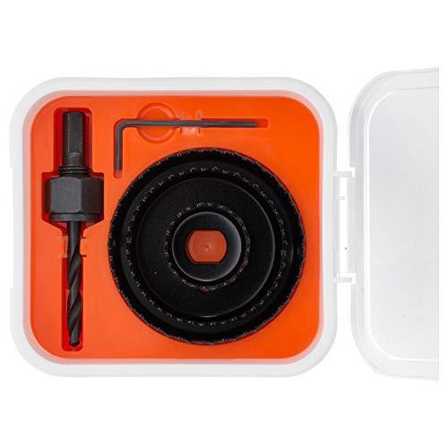 5-teiliges Lochsägen-Set, Materialien: Box/Trennwand/Deckel: PP-Kunststoff, Material Unterseite: Stahl, Ölhalter: Stahl