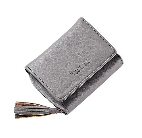 Diyafas Damen Quaste Portemonnaie Kurz Brieftasche Kartenhalter Reißverschluss Geldbörse Damen Kleine Clutch Handtasche