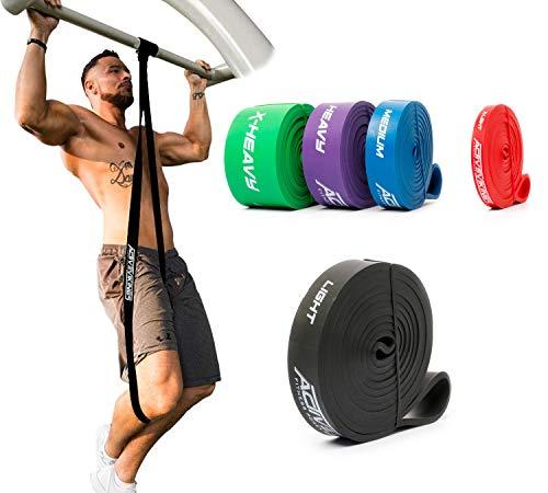 ActiveVikings® Bandes de fitness pull-up - Parfait pour la construction musculaire et le Crossfit Freeletics Calisthenics - Bande de résistance, Adulte (unisexe), B – Noir : Light (résistance légère).