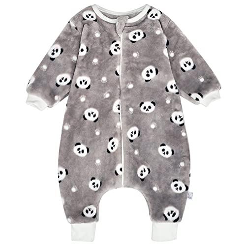 Baby Schlafsack mit Beinen Warm gefüttert Winter Langarm Winterschlafsack mit Füssen Junge Mädchen Unisex Overall Schlafanzug