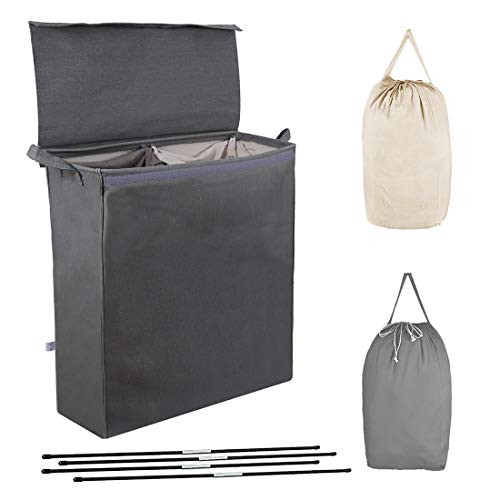 MCleanPin Double Laundry Hamper with Lid and Removable Liners 2 Section Laundry Sorter Divided Laundry Sorter with Laundry Bags Clothes Hampers for Laundry Dorm Room