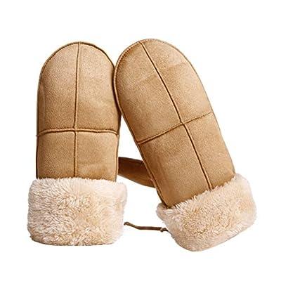 VORCOOL Mädchen Winterhandschuhe mit Pelz Fleece Futter Kleinkind Kinder Wildleder Pom Fäustlinge mit String Freie Größe (Khaki)