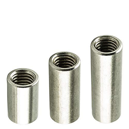 M6 X 25 mm (50 Stück) Gewindemuffe (D=10) Rund-muffe - Edelstahl VA A2 V2A - Gewinderohr rostfrei | AGBERG
