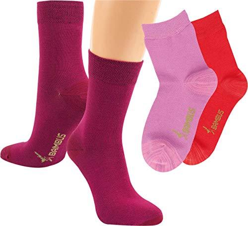 RS. Harmony Kinder Socken Bambus, verstärkte Belastungszonen, extra weich auf der Haut, atmungsaktiv, für Mädchen und Jugendliche | rosé, pink, bordeaux | 23-26 | 3 Paar