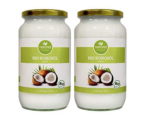 natures FINEST® Bio Kokosöl nativ vegan • Test-Note: 1,2 • Kokosfett, Kokosnussöl, Naturrein, 1. Kaltpressung, Rohkost Qualität - zum Kochen, Braten, Backen, für Haut & Haare 2 x 1000ml Schraubglas