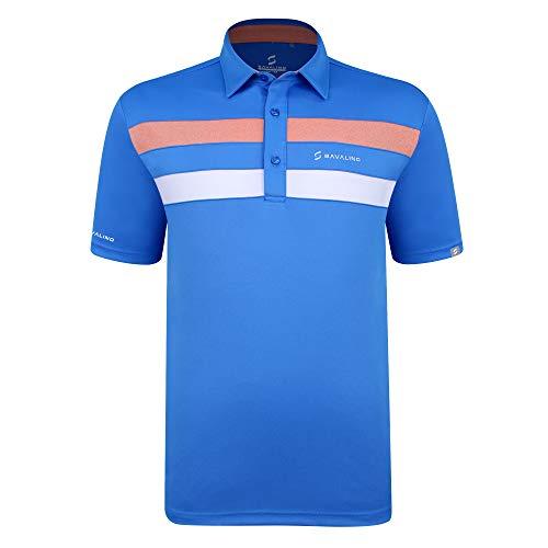 SAVALINO Men's Bowling Polo Shirts Material Wicks Sweat & Dries Fast, New Finishing Technologies to Combat Smell with Material Wicks Sweats & Dries Fast M Light Blue
