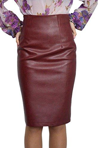 Stilvoller Damen Hohe Taille Rock Bleistift knielang Kunstleder Bordeaux Inner Futter, Größe EU 36 38 40 42 44 46 48 50 (46)