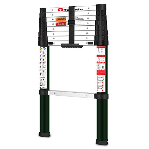 TOOLITIN Telescoping Ladder,8.5 FT One Button Retraction Aluminum Telescopic Extension Ladder,Slow Down Design Extendable Ladders Portable Best for Household Daily or RV Work,330 Pound Capacity…