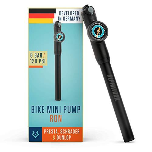 Alphatrail Mini Bomba Ron - para Todas Las válvulas I 8,3 Bar / 120 PSI presión máxima I Gran manómetro (Ø32mm) I Manguera Extensible de 15cm I Bomba de Bicicleta para Presta, Schrader y Dunlop
