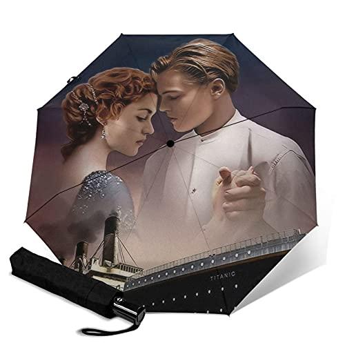 Titanic - Paraguas de tres pliegues, romántico, automático, automático, portátil, cortavientos, impermeable, antirrayos UV, apertura automática, compacto y portátil plegable