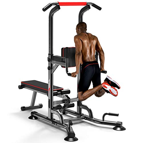 HIBRO Multifunction Power Tower Pull Up Dip Station, Dumbbell Bench,Strength Training Workout Home Gym Fitness Equipment