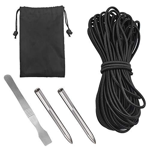 Corda in nylon Paracord 550 da 15,2 metri di lunghezza x 4 mm di spessore, strumento lisciante, 2 aghi in acciaio inossidabile da 4 mm di spessore, con custodia