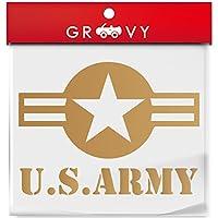 米軍 US アーミー ver1 ミリタリー 車の給油口ステッカー ARMY 星マーク ドレスアップ_mili006 (ゴールド)