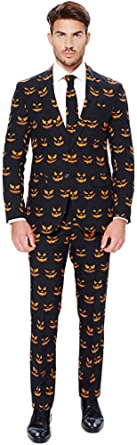 OppoSuits Herren Opposuits Halloween Suit For Men in Creepy And Stylish Print Anzug, Black-O Jack-O, 54 EU