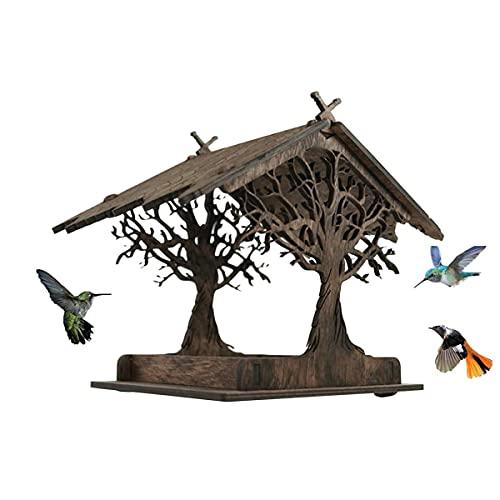 Rpporm Garten Vogelfutterhaus Holzhaus Handarbeit aus Natur-Holz für Gartenvögel wetterfest, naturbelassen | Vogelhaus zum Aufhängen im Garten und Balkon Hof Villa Balkon Vogelhäuschen Gartendeko