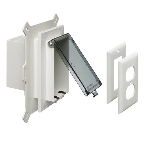 Arlington DBVS1C-1 Low Profile IN BOX Recessed Outlet Box Wall Plate Kit for New Vinyl Siding Construction, Vertical, 1-Gang, Clear