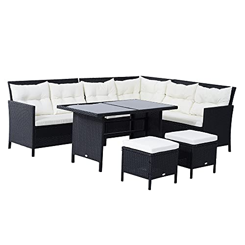 Outsunny 6 PC Garden Rattan Corner Dining Sofa Set 7-seater Outdoor Wicker Conservatory Furniture Lawn Patio Coffee Table Foot Stool w/Cushion - Black
