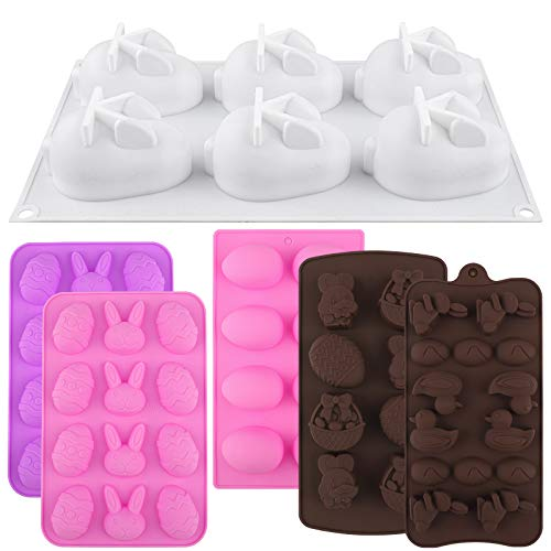 ADXCO 6 Pieces Easter Silicone Mold Egg Shape and Bunny Cake Baking Mold DIY Chocolate Mold for Easter Cake Decorating Home Kitchen DIY Baking