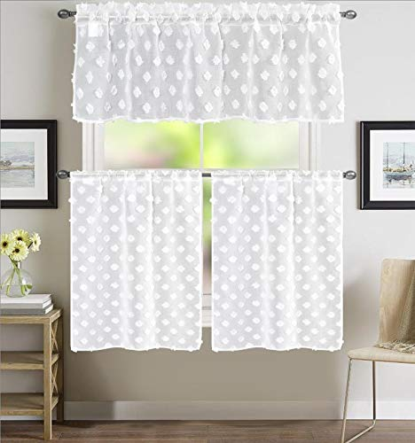 EliteHomeProducts EHP 3 Piece Diamond Semi-Sheer Embroidered Kitchen Curtain, Rod Pocket Set, 1 Valance