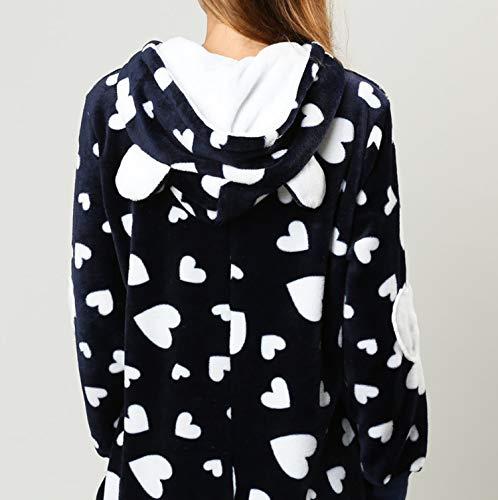 Orshoy Damen Jumpsuit Teddy Fleece Einteiler Overall Anzug Flauschig Schlafanzug Overall Loungwear Navy-Weiß XL - 3