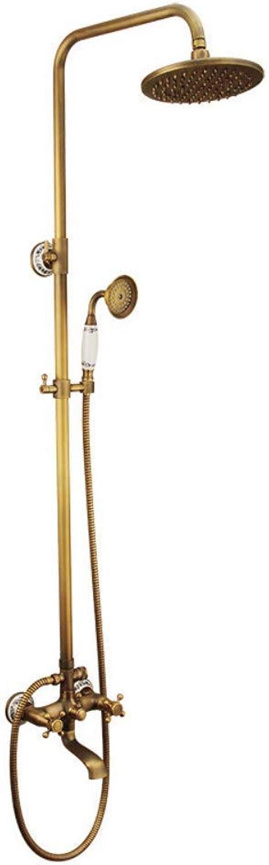 Dusche Set Mixer Dusche Wasserhahn, Golden Shower Set Brausearmatur Badezimmer Wand- Retro Style Weiß Keramik Duschkopf Mixer Dusche.
