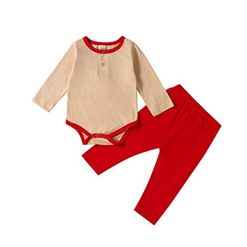 Conjunto de 2 piezas de ropa para bebé niña niño con botones, ropa de dormir unisex de 3 a 24 m