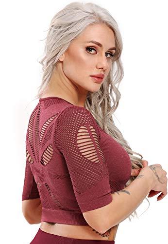 STARBILD Top Corto T-Shirt Sportive da Donna Camicie a Maniche Corte Manica Lunga Yoga Allenamento da Corsa, B-Rosso M