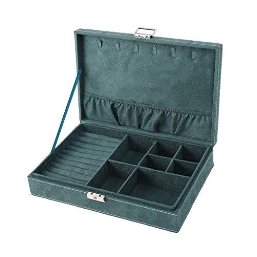 Caja De Almacenamiento De Joyas Caja De Almacenamiento De Joyas De Una Sola Capa De Gran Capacidad Verde Caja De Presentación Cuadrada De Gamuza De Cuero ( Color : Green , Size : 28×18.5×6.5cm )