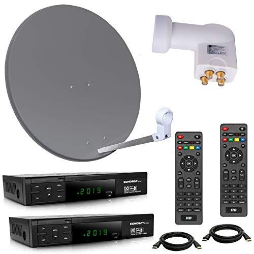 netshop 25 HD Sat Anlage 80 cm Spiegel + Opticum Quad LNB für 4 Teilnehmer + 2 Stück HD SAT Receiver (3 Farben wählbar)
