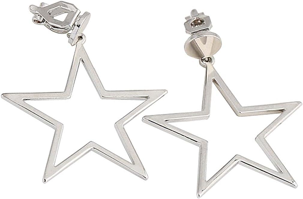 Five-pointed Star Dangle Clip on Earrings White Gold Plated Geometric Pentagon Drop Non Pierced Ears Hoop for Women Girls Gifts Bridal Wedding Chandelier Dangling Jewelry