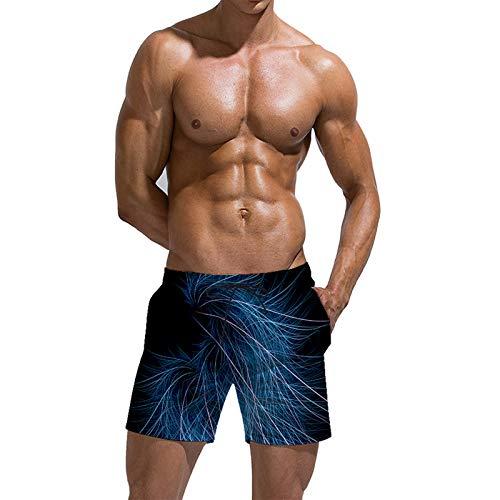 URVIP Herren Badehose Sommer Badeshorts 3D Druck Schnell Trocknend Hawaii Surf Schwimmhose Sporthose Multi-27 L