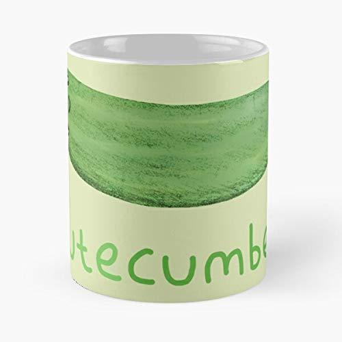 Taza de café de cerámica blanca de 11 onzas con diseño de pepino